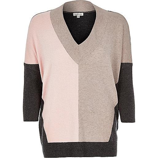 Pink colour block top