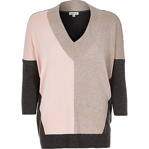Pink color block top