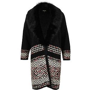 Black knit coatigan with faux fur collar