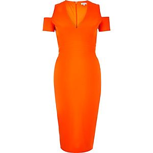 Orange cold shoulder dress