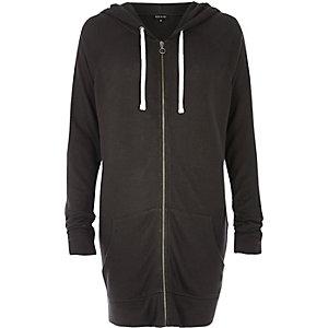 Washed black longline hoodie
