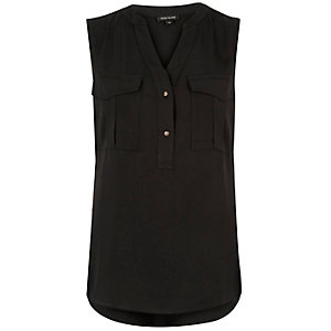 Black utility blouse