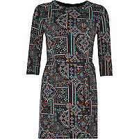 Black printed belted tunic