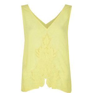 Yellow cutwork tank top