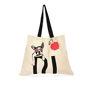 Beige bulldog print shopper