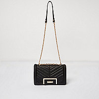 Black quilted chain handbag