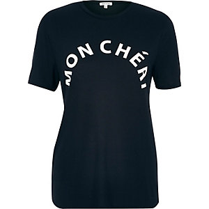 Navy mon cheri print fitted t-shirt