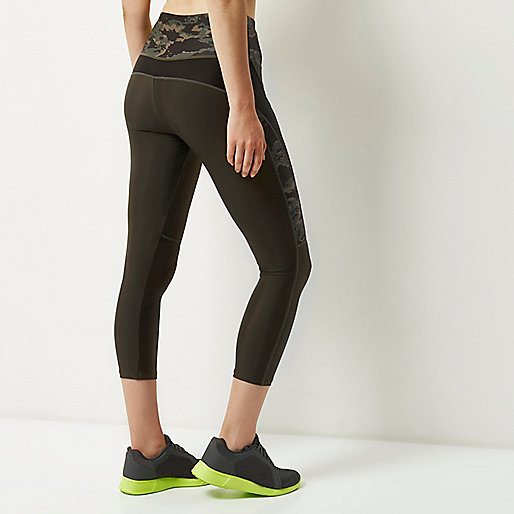 RI Active khaki print capri sports leggings