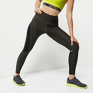 RI Active khaki mesh sports leggings