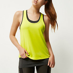RI Active yellow double layer gym tank