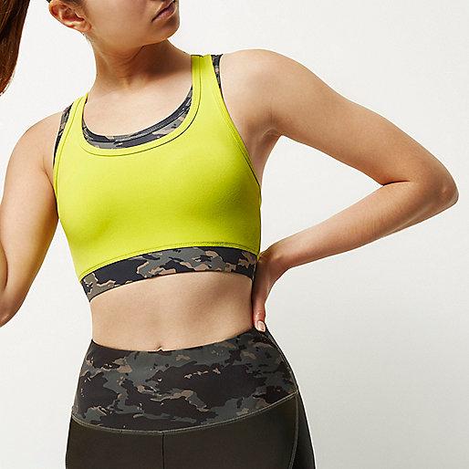 RI Active camo layered sports bra