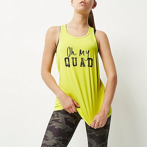 RI Active yellow slogan print gym vest