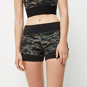 RI Active camouflage print layered shorts