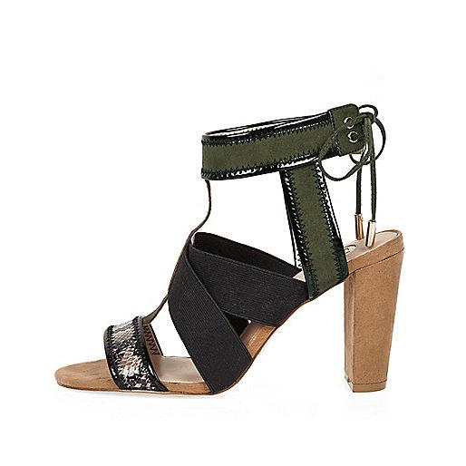 Sandales kaki à bride croisée et talons