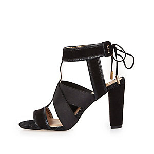 Black cross over heel sandals