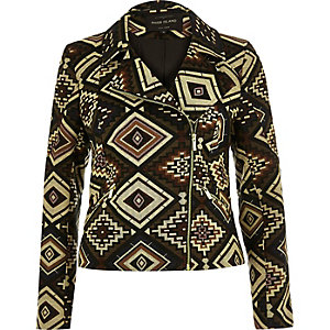 Brown Aztec pattern biker jacket