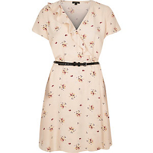 Beige floral-print belted dress