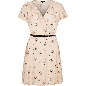 Light pink floral print belted dress
