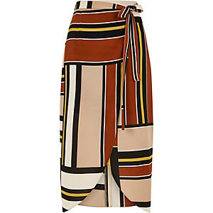 Brown striped wrap front skirt
