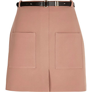 Pink belted mini skirt