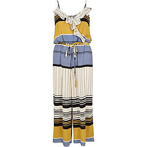 Beige stripe culotte jumpsuit