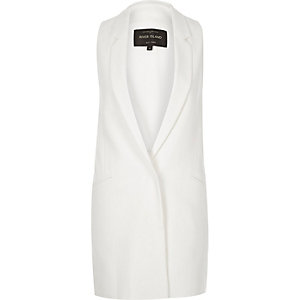 White side tab sleeveless jacket