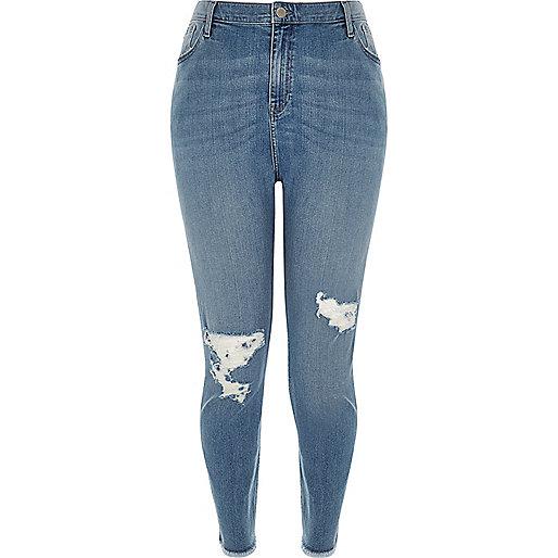 RI Plus – Lori – Skinny Jeans in blauer Waschung mit hohem Bund