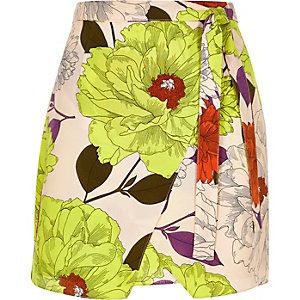 Yellow retro floral print wrap skirt