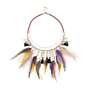 Purple feather bib necklace