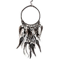 Black layered feather necklace