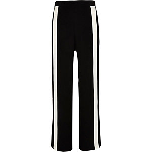 Black side stripe wide trousers