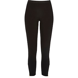 Black zip hem leggings