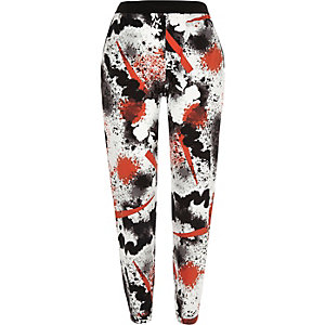White printed jersey joggers