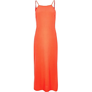 Fluro coral slip dress