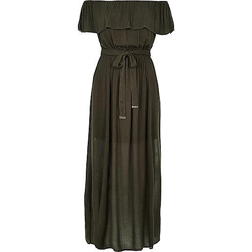 Khaki bardot maxi dress