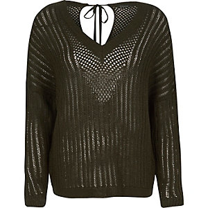 Khaki crochet sweater