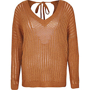 Rust crochet sweater