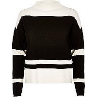 Black block stripe jumper