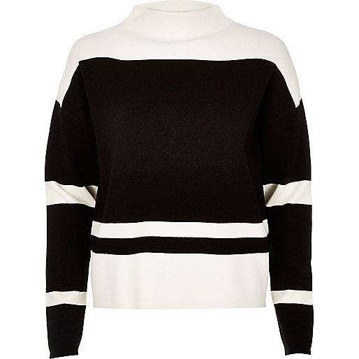Black block stripe sweater