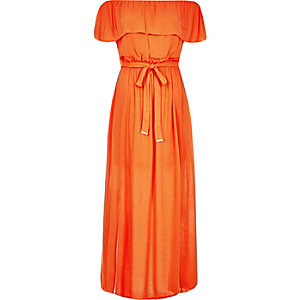 Orange bardot maxi dress