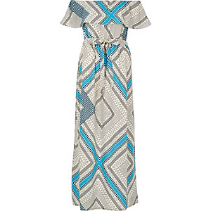Blue print bardot maxi dress