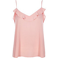 Light pink frilly jacquard cami