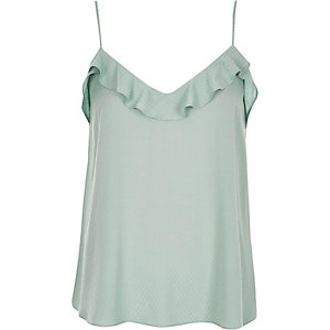 Light green frilly jacquard cami