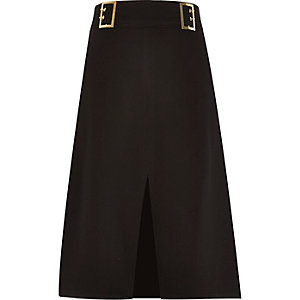 Black double buckle midi skirt