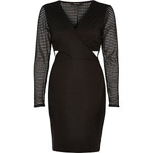 Black mesh sleeve dress