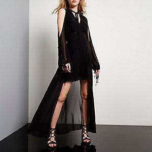 Black tied maxi dress