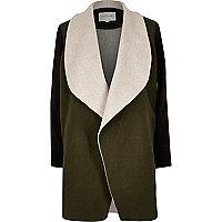 Leichter Mantel aus Wollmix in Khaki