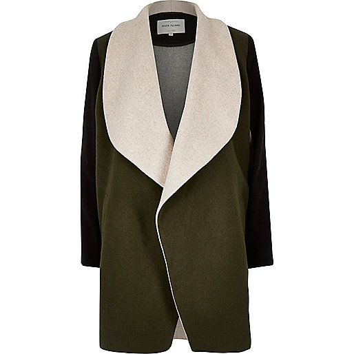Khaki block wool blend fallaway coat