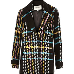 Multicoloured checked pea coat