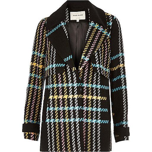 Multicolored checked pea coat